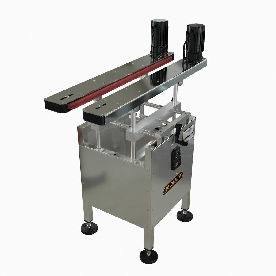 GLOBALTEK™ Bottomless Side Belt Transfer Conveyor with Tilting Capabilities and Enclosed Frame