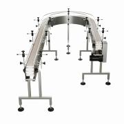 "Globaltek Stainless Steel 4' x 4.5"" Inline Conveyor with Plastic Table Top Belt & Welded Legs. Model (CON-0445PWN)"